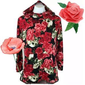Lularoe Amber Hoodie Top Skulls Red Roses XL NWOT
